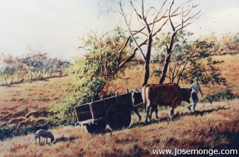 Carreta con bueyes en el campo