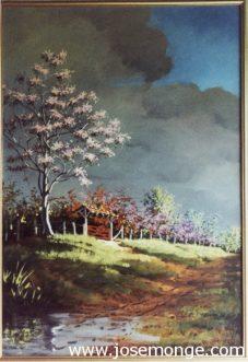 Paisaje, árbol al lado de un camino