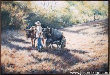 Campesino y su carreta con bueyes
