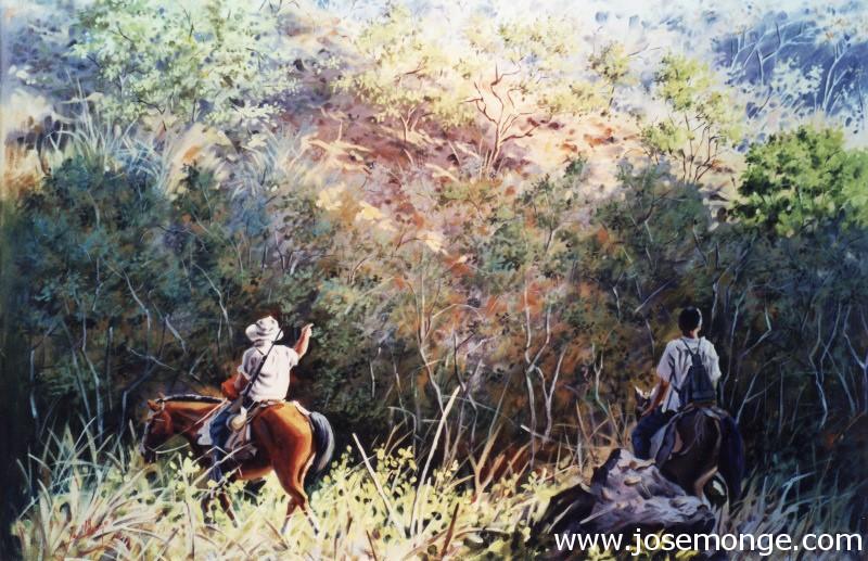 Campesinos a caballo en el monte