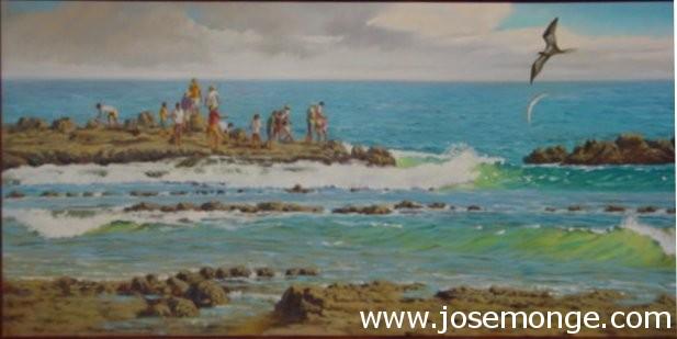 Personas en la costa