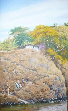 Jinetes bajando hacía el río