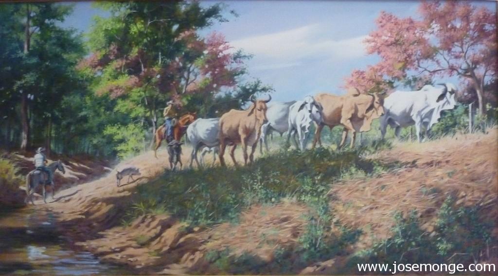 Jinetes y el ganado